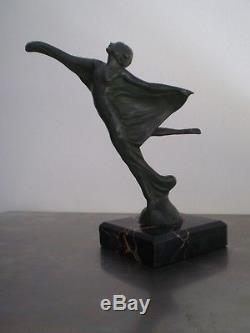 Statue Bronze 1930 Danseuse Art Deco Max Le Verrier Sculpture Dlg Mascotte Auto