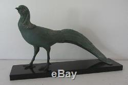 Statue FAISAN Ancien ART DECO Signée M. FONT Régule Marbre sculpture of phesant
