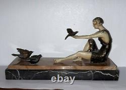 Statue Sculpture Art Deco Femme Oiseaux Marbre
