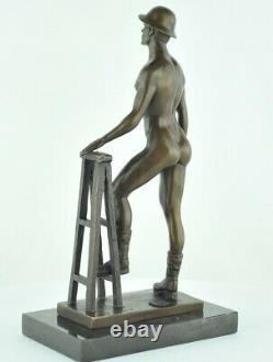 Statue Sculpture Athlete Sexy Style Art Deco Bronze massif