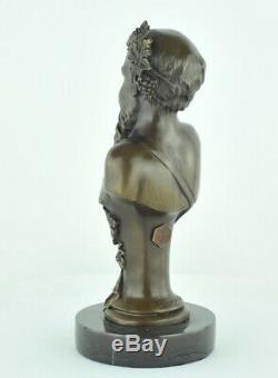 Statue Sculpture Bacchus Style Art Deco Bronze massif Signe