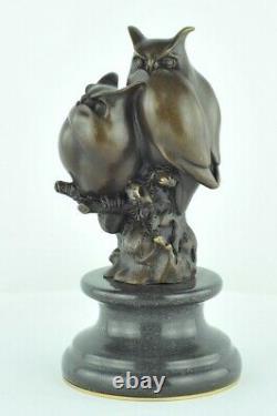 Statue Sculpture Chouette Hibou Animalier Style Art Deco Bronze massif Signe