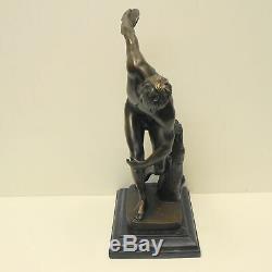 Statue Sculpture Discobole Nu Style Art Deco Style Art Nouveau Bronze massif Sig