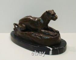 Statue Sculpture Lion Lionne Animalier Style Art Deco Style Art Nouveau Bronze m