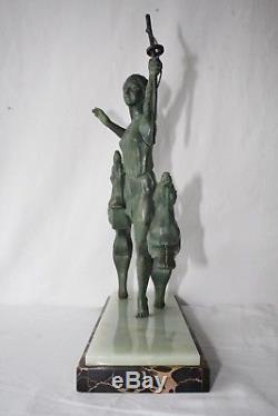 Sujet Art Deco Femme À L'arc Avec Levrier Patine Verte Sur Marbre Porteur A768