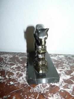 Superbe Ancienne Paire De Serres Livre Art Deco Pantheres Sculpture Animaliere