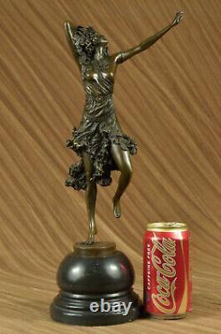 Superbe Art Déco Solide Bronze Danseuse Après Colinet Sculpture Marbre Figurine