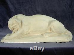 Superbe Sculpture Pierre Taille Directe Lionne Art Deco H. Baron 1920 Panthere
