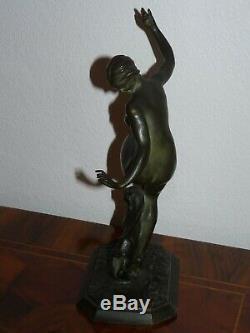Superbe rare ancienne sculpture art déco femme en bronze signée J Gauvenet