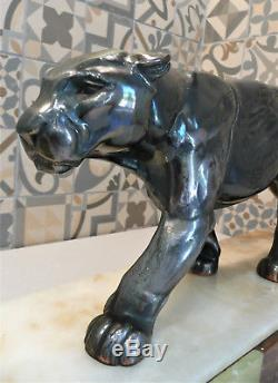 Superbe sculpture Panthère Art Déco lampe 1930 sur marbre / onyx