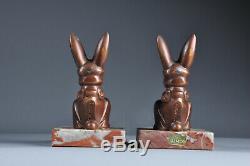 Superbe serre livres lapin Henri Moreau Art Déco 1900 Antique bookend sculpture
