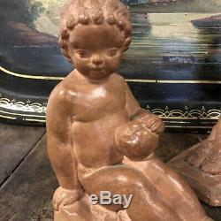 Sylvestre CLERC Paire de Serre Livre Terre Cuite Ancien Sculpture Art Deco