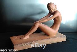 Ugo Cipriani (1887-1960) Sculpture Femme Nue En Terre Cuite Art Déco