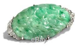 Um 1925 Edle art déco Platine Broche avec jade sculpture & DIAMANTS / Chine