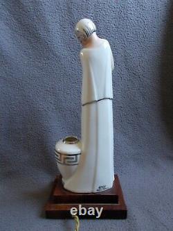 Veilleuse art deco 1920/30 en porcelaine ARGILOR femme statuette sculpture lampe