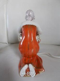 Veilleuse lampe art deco 1930 statuette femme en porcelaine sculpture lamp 30s
