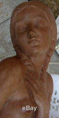 Zoltan Kovats 1883-1952 Grande Sculpture Art-déco Jeune Femme Nue Au Rocher